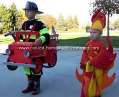 Coolest Firetruck, Fireman and Flame Couple Costume Our son Matthew needed new rain boots for school. My wife took him shopping, and they came home from the store with the black and red fireman boots. Diy Fireman Costumes, Family Costumes, Holiday Costumes, Halloween Costumes For Kids, Halloween 2018, Homemade Costumes, Diy Costumes, Costume Ideas, Fire Costume