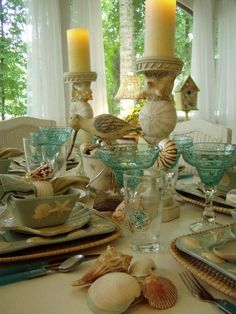 Beach Tablescape from Between Naps on the Porch