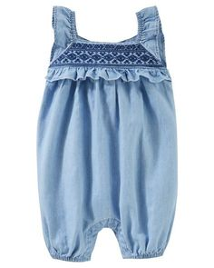 Baby Girl Embroidered Chambray Romper from OshKosh B'gosh. Shop clothing & accessories from a trusted name in kids, toddlers, and baby clothes.