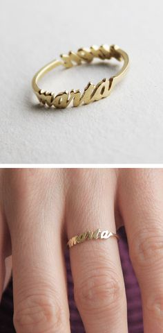 Gold Name Rings With Diamonds Cute Jewelry, Jewelry Box, Jewelry Accessories, Fashion Accessories, Jewelry Design, Jewelry Ideas, Unique Jewelry, 14k Gold Ring, Silver Rings