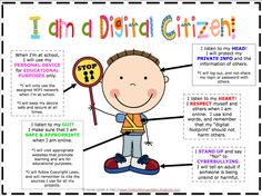 Great poster to introduce digital citizenship to elementary students.