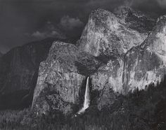 Ansel Adams, Bridal Veil Fall and Cathedral Rocks, Thunderstorm, Yosemite Valley, ca. 1942