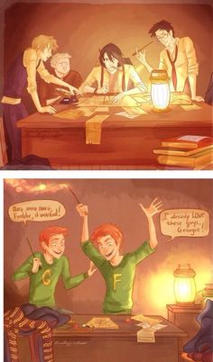 i-wakeupstrange: nathanielemmett: Some FREAKING AWESOME Harry Potter fan art of the marauders creating the map and Fred and George later discovering it. just want everyone to remember out of these six people one is alive And the Marauders were GENIUSES! James Potter, Harry Potter Fan Art, Harry Potter World, Memes Do Harry Potter, Hery Potter, Fans D'harry Potter, Harry Potter Comics, Mundo Harry Potter, Harry Potter Universal
