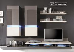 modern TV wall unit  with lights for living room designs