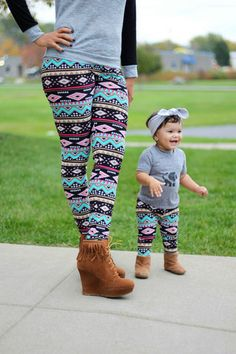 Mommy and me matching leggings, cute tribal print