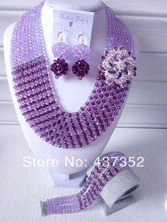 Fashion Nigerian Wedding African Beads Jewelry set Lilac Purple Crystal Necklace Bracelet Earrings Jewelry Set CPS-336 $68.16