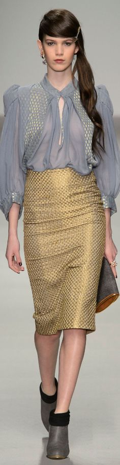 Fall 2015 Ready-to-Wear Bora Aksu--Interesting texture on the skirt and blouse
