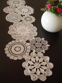 Vintage Doily Runner Wedding Table Decoration With Handcrocheted Vintage Doilies Eco Wedding Table Settings MADE to ORDER - Tabelle Ideen Romantic Table Setting, Wedding Table Settings, Wedding Tables, Vintage Table Settings, Vintage Table Decorations, Cake Decorations, Wedding Cake, Wedding Decorations, Cake Stand Decor