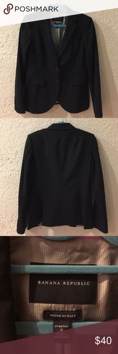 Banana Republic Black Blazer Sz 4 Excellent condition. Fully lined. 2 button jacket.  2 back vents. Shell - 96% Virgin Wool, 4% Elastane. Body Lining - 58% Acetate, 42% Rayon. Sleeve Lining - 95% Polyester, 5% Elastane. Banana Republic Jackets & Coats Blazers