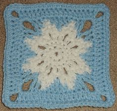 My square came out to 6 1/8 inches using worsted weight yarn and an I hook (5.5mm). Different yarns/hooks will produce different sizes. The square doesn't require much yarn.