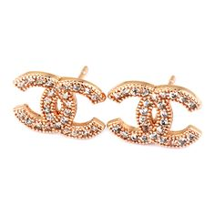 Double C Stud Earrings | Rose Gold/Crystal by Bullion Gold on Brands Exclusive