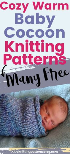 Baby Cocoon knitting patterns for baby's comfort. Keep baby snuggly warm and comfortable while sleeping or cuddling. Perfect as a gift or for your own baby. Knitting Help, Loom Knitting, Hand Knitting, Baby Knitting Patterns, Baby Patterns, Bunting Pattern, Baby Cocoon Pattern, Baby Comforter, Baby Warmer