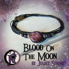 <b>Thread:</b> Black<b>Colored Glass Beads:</b> Amethyst, Black<b>Metal Beads:</b> Silver Plate<b>Blood Moon:</b> Jasper Gem Stone<b>Tubes:</b> Tibetan Silver<b>Tag:</b> NTIO/<b>Juliet's Signature</b> (brass)<b>Size:</b> Fits All<b>Close-up Photo:</b> Not Actual Size<b>Juliet Simms</b> Front woman from the Warped Tour band <b>Automatic Loveletter</b> has released 2 records and 3 EPs on several labels including <b>Epic, Sony,</b> and <b>Paper and Plastic</b>.  Her uniquely raspy and versatile…