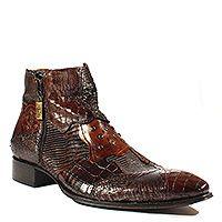 Jo Ghost Mens Shoes Brown Mult-Patchwork Zip-Up Boots (JG1715)