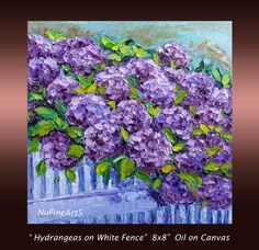 Hydrangea Flower Oil Painting Floral  Textured by NuFineArt5