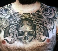 Mens Chest Black And Grey Tattoo Of Revolvers Skull And Rose Tattoo