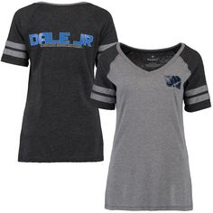 Dale Earnhardt Jr. Women's Stealth Pop Fashion V-Neck T-Shirt - Gray/Black