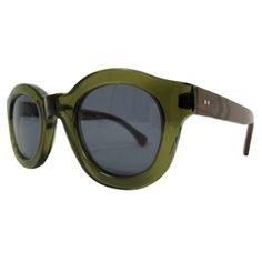 1940s STYLE OLIVE GREEN SUNGLASSES w WOODEN TEMPLES
