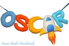 Literki z filcu - dowolne imię dziecka - KOSMOS - Sowa_Studio_Handmade - Dekoracje pokoju dziecięcego
