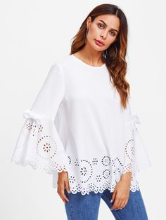 Online shopping for Bow Detail Fluted Sleeve Laser Cut Scalloped Blouse from a great selection of women's fashion clothing & more at MakeMeChic. Cute Teen Outfits, Outfits For Teens, Mode Chic, Stylish Tops, Blouse Online, Blouse Dress, Blouse Styles, Top Pattern, Lace Tops