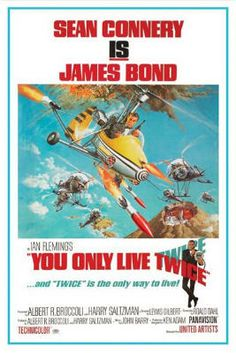 This poster shows James bond in a helecopter. Behind him are other helecopters. At the top it says Sean Connery Is James Bond. At the bottom it says You Only Live Twice ¿ and Twice is the only way to live! Below that are the movie credits.