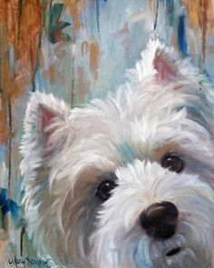 """""""Drip"""" (Westie West Highland Terrier)  Print of Original Oil Painting  Add a little Westie Whimsy to your walls!  Printed on Unstretched"""
