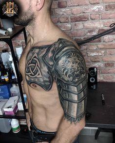 Armor Sleeve Tattoo, Armor Of God Tattoo, Armour Tattoo, Shoulder Armor Tattoo, Shield Tattoo, Full Sleeve Tattoos, Sleeve Tattoos For Women, Tattoo Sleeve Designs, Tattoo Designs Men