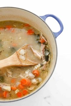 Leftover Turkey and Rice Soup is a great way to use those thanksgiving leftovers. Easy to freeze and save for later, make the most out of your meal!