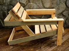 wood pallet adirondack chair with a beer shelf