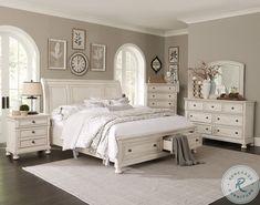 Off White Bedrooms, White Bedroom Set, White Rustic Bedroom, Cream And White Bedroom, King Bedroom Sets, Antique Bedroom Sets, Cream Bedrooms, White Bedroom Design, Modern Bedrooms