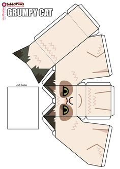its papercraft happy fun time again, presenting a tubbypaws happy papercraft tribute to grumpy cat the grumpy cat, the cat with a gr. Cat Crafts, Crafts For Kids, Happy Fun, Paper Models, Grumpy Cat, Paper Toys, Printable Paper, Crazy Cats, Just In Case