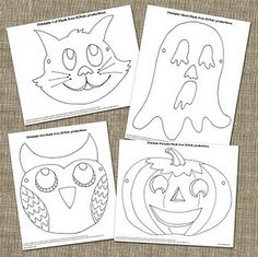 "printable halloween masks - kids can color them, then wear them while playing freeze dance to ""Monster Mash,"" ""Thriller,"" etc!"