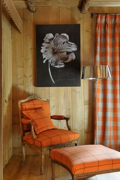 Luxury Hotel and Chalets in Megeve. Les Fermes de Marie is a luxury Hotel in Megeve, offering a Spa, pool, restaurants, bars. Orange House, Living Spaces, Living Room, Take A Seat, Luxury Interior Design, My New Room, Luxury Homes, Fall Decor, Log Cabin Homes