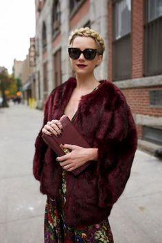 Formal events like holiday parties or weddings require a coat as elegant as what's underneath. A jewel-tone faux fur jacket is an undeniably glamorous option. #winterstyle #fauxfur