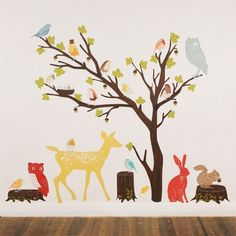 Wall Decals Woodland (Reusable and removable fabric stickers, not vinyl) - Discount set - Retro Woodland Scene. $230.00, via Etsy.