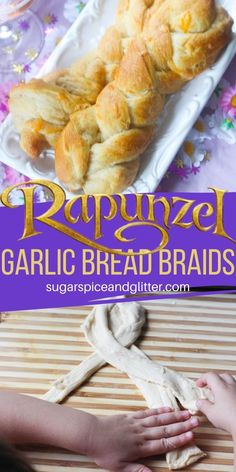 Rapunzel Garlic Bread Braids ⋆ Sugar, Spice and Glitter Movie Night Snacks, Night Food, Movie Nights, Disney Inspired Food, Disney Food, Disney Family Movies, Disney Dishes, Friday Movie, Disney Parties