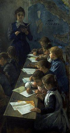 O ditado, 1891 Demetrio Cosola (Itália, 1851-1895) pastel sobre tela, 93 x 182 cm Galeria Civica di Arte Moderna e Contemporanea, Torino