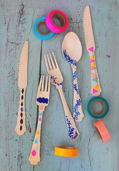 Decorate bamboo cutlery to make it even cuter -- moodkids.nl via JustB Australia