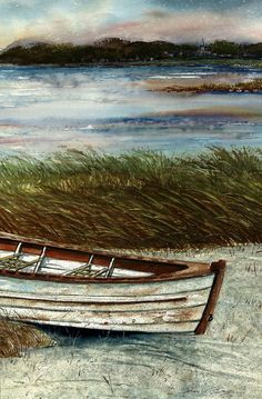 Boat on Shore by Steven W Schultz ~ watercolor ~ coastal Watercolor Landscape, Landscape Art, Watercolor Paintings, Watercolours, Boat Art, Boat Painting, Nautical Art, Pictures To Paint, Beautiful Artwork