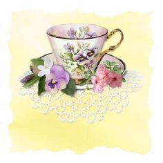 "Tea:  A china teacup with pansies.  ""Each cup of tea represents an imaginary voyage.""  ---Catherine Douzel"