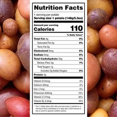 Did you know this about potatoes? 🤔  • • At only 110 calories, potatoes provide 3 grams of protein, 30% of the daily recommended value of Vitamin C, and more potassium than bananas! Potatoes also contain zero fat, cholesterol, and sodium! #WellnessWednesday Potato Nutrition, Healthy Potatoes, Trans Fat, Daily Meals, Saturated Fat, Balanced Diet, Serving Size, Vitamin C, Fruits And Vegetables