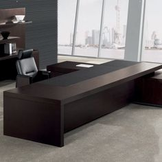 The Leading executive desk has everything you need from the wireless charger inside the main desk, to the storage cabinet which has a smart lock! Executive Office Furniture, Office Furniture Design, Office Interior Design, Office Interiors, Modern Executive Desk, Office Cabin Design, Small Office Design, Office Desk For Sale, Modern Office Decor