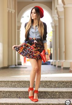 This outfit screams flirty school girl. The colors are vibrant, in season and all work together to make an adorably chic outfit.