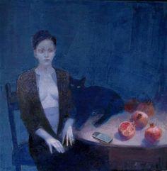 Waiting - Emilia Castañeda Martinez Spanish, b.1943- Oil on canvas,112 x 112 cm