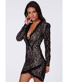 Black Nikhila Eyelash Lace Wrap Over Mini Dress