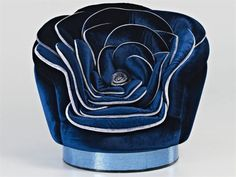 Silk and velvet chair, shaped like a flower, designed by Carla Tolomeo.