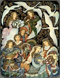 Vera Smirnova, Palekh Russian Lacquer box - The wild swans Art And Illustration, Russian Folk Art, Vintage Fairies, Fairytale Art, Oeuvre D'art, Illustrators, Fantasy Art, Fairy Tales, Alice