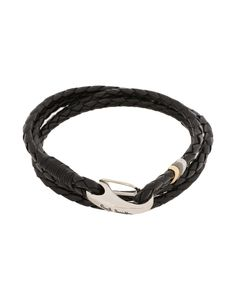 Marco Dal Maso Mens Leather Double-Wrap Bracelet, Black