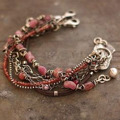 pastels bracelets sterling silver ruby by Ewalompe on Etsy