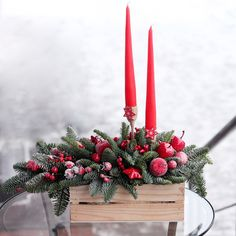 Создать настроение праздника очень просто💫❄️Стильная и яркая композиция наполнит ваш интерьер волшебным блеском!  С любовью, Fashion Flowers💞  #Fashion_Flowers_38 #новогодниекомпозицииИркутск #новогоднееоформлениеИркутск #композицииИзЕлиИркутск Christmas World, Noel Christmas, Country Christmas, Christmas Wreaths, Christmas Arrangements, Christmas Centerpieces, Xmas Decorations, Xmas Crafts To Sell, Christmas Baskets